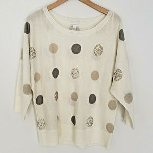 Womens XL Sweater Polka Dot Beaded Glitter Holiday